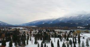 Vista aérea de árboles y de la montaña durante el invierno 4k almacen de metraje de vídeo