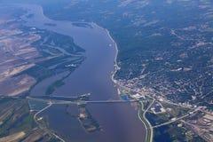 Vista aérea de Alton Illinois e a ponte de Clark Fotografia de Stock