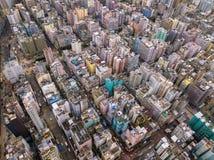 Vista aérea de apartamentos de Hong Kong no fundo da arquitetura da cidade, Sha imagens de stock