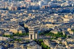 Vista aérea de Arc de Triomphe foto de archivo libre de regalías