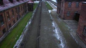 Vista aérea de Auschwitz Birkenau, um campo de concentração no Polônia filme