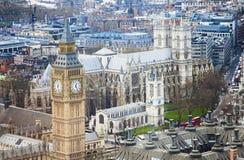 Vista aérea de Big Ben y de la abadía de Westminster Imágenes de archivo libres de regalías