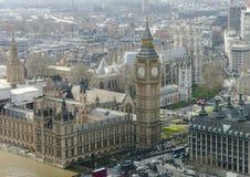 Vista aérea de Big Ben y de la abadía de Westminster Imagen de archivo