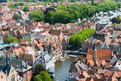 Vista aérea de Bruges (Bruges) da torre de sino Fotos de Stock Royalty Free