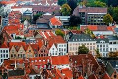 Vista aérea de Bruges da torre de sino, Bélgica 1 Foto de Stock