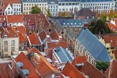 Vista aérea de Bruges da torre de sino, Bélgica 3 Fotografia de Stock