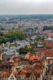 Vista aérea de Bruges da torre de sino, Bélgica Foto de Stock Royalty Free