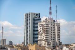 Vista aérea de Buenos Aires e de construção do Ministério da Saúde - Buenos Aires, Argentina Fotos de Stock