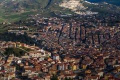 Vista aérea de Cammarata, Sicília, Itália imagem de stock