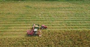 Vista aérea de campos en otoño con la cosecha y la selección de maíz pasada de las actividades de las balas de heno almacen de video