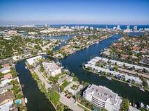 Vista aérea de canais do Fort Lauderdale fotografia de stock royalty free