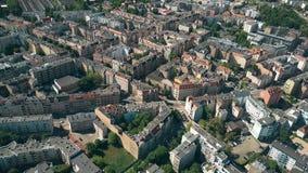 Vista aérea de casas residenciales en Poznán, Polonia Imágenes de archivo libres de regalías