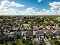 Vista aérea de casas suburbanas em Ipswich, Reino Unido Vista do quintal fotos de stock