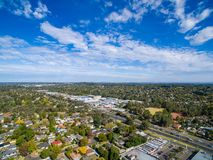 Vista aérea de casas suburbanas em Melbourne, Austrália Fotos de Stock