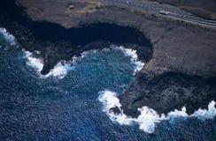 Vista aérea de chateaux Reunion Island do DES de Pointe foto de stock