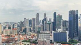 Vista aérea de Chinatown y Downotwn de Singapur en el timelapse de la tarde metrajes