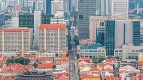 Vista aérea de Chinatown y Downotwn de Singapur en el timelapse de la tarde almacen de metraje de vídeo