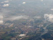 Vista aérea de Chivasso Foto de archivo