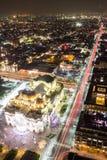 Vista aérea de Cidade do México, de fugas da luz e de Bellas Artes imagens de stock