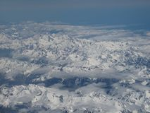 Vista aérea de cimeiras da montanha da neve em Queenstown Nova Zelândia Fotografia de Stock