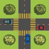 Vista aérea de coches en la intersección Foto de archivo
