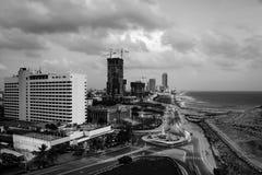 Vista aérea de Colombo, Sri Lanka en la noche Imágenes de archivo libres de regalías