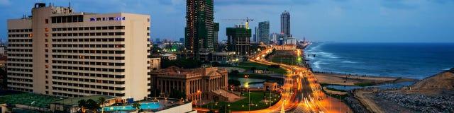 Vista aérea de Colombo, Sri Lanka en la noche Imagen de archivo