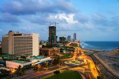 Vista aérea de Colombo, Sri Lanka en la noche Fotos de archivo libres de regalías