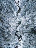 Vista aérea de The Creek nas montanhas foto de stock