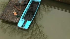 Vista aérea de Danubio cerca de Kovin almacen de video