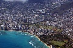 Vista aérea de Diamondhead, parque de Kapiolani, Waikiki, Shell, Alá Imagens de Stock Royalty Free