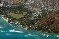 Vista aérea de Diamondhead, parque de Kapiolani, Waikiki, Shell, Kapa Fotografia de Stock