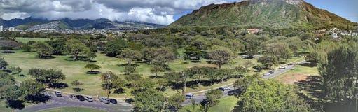 Vista aérea de Diamondhead, parque de Kapiolani fotos de archivo