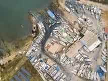 Vista aérea de diques seco y del astillero en Olhao, Portugal fotos de archivo libres de regalías