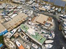 Vista aérea de diques seco y del astillero en Olhao, Portugal fotografía de archivo libre de regalías