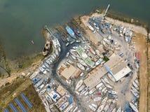 Vista aérea de diques seco y del astillero en Olhao, Portugal imágenes de archivo libres de regalías