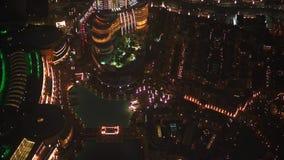 Vista aérea de Dubai céntrico en la noche almacen de video