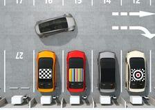 Vista aérea de EV colorido que carga en el estacionamiento stock de ilustración