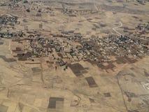 Vista aérea de explorações agrícolas e de vilas etíopes Fotografia de Stock