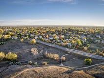 Vista aérea de Fort Collins Fotografía de archivo libre de regalías