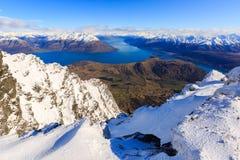 Vista aérea de Frankton e de lago WakatipuQueenstown, Nova Zelândia fotografia de stock royalty free
