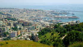 Vista aérea de Génova, Italia Foto de archivo