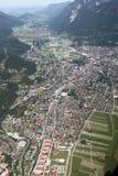 Vista aérea de Garmisch, Alemania Fotos de archivo libres de regalías