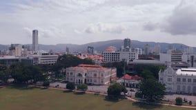 Vista aérea de Georgetown Penang, Malasia almacen de metraje de vídeo