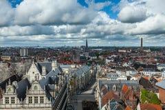 Vista aérea de Ghent da torre de sino. Ghent, Bélgica fotografia de stock