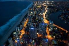 Vista aérea de Gold Coast en noche Imágenes de archivo libres de regalías