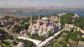 Vista aérea de Hagia Sophia almacen de video