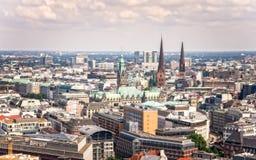 Vista aérea de Hamburgo céntrica imágenes de archivo libres de regalías