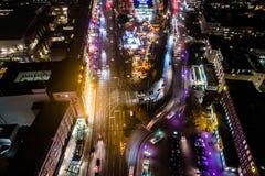 Vista aérea de Hamburgo en la noche, Alemania Tiempo de la Navidad Fotografía de archivo libre de regalías