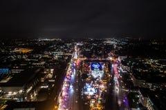 Vista aérea de Hamburgo en la noche, Alemania Tiempo de la Navidad Foto de archivo